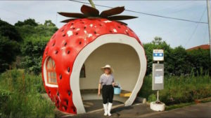 Fruit Shaped Bus Stops, de aardbei (Japan, Konagai)