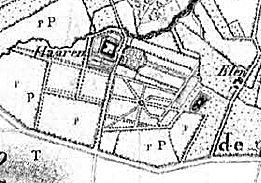 Voerendaal, kasteel Haeren, detail kaart 1806 met grafeiland ten z o van kasteel, graf